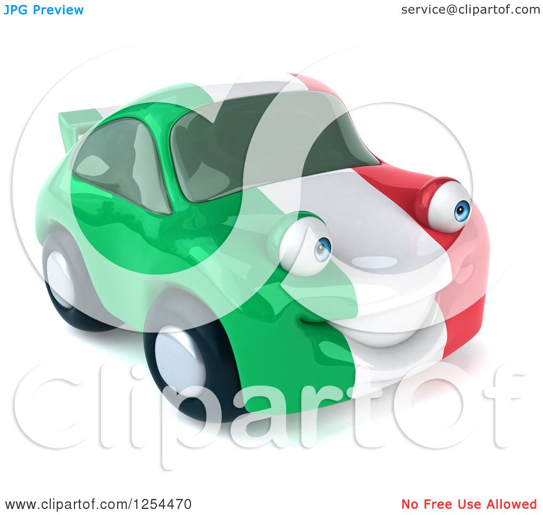Clipart of a 3d Italian Flag Porsche Car Character - Royalty Free ...