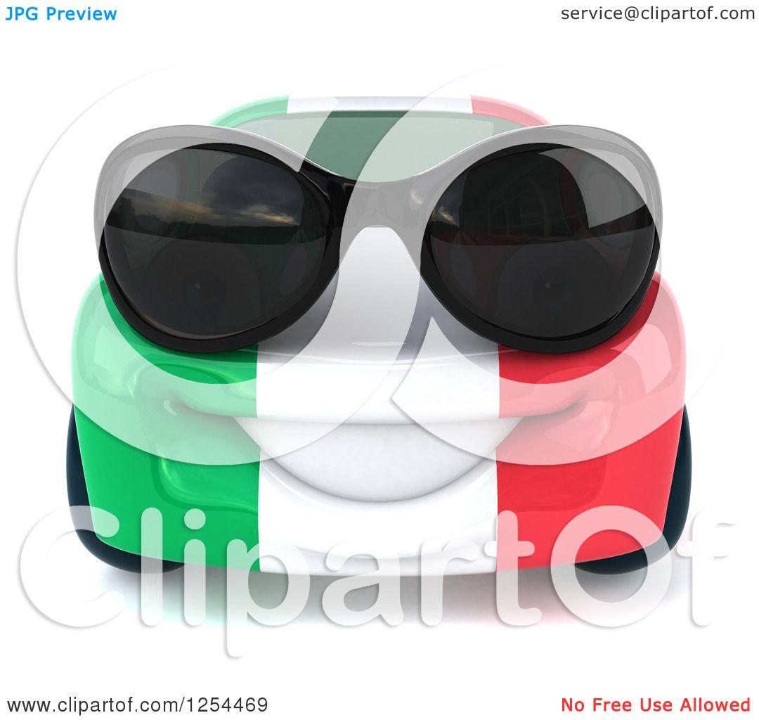 Clipart of a 3d Italian Flag Porsche Car Character Wearing ...