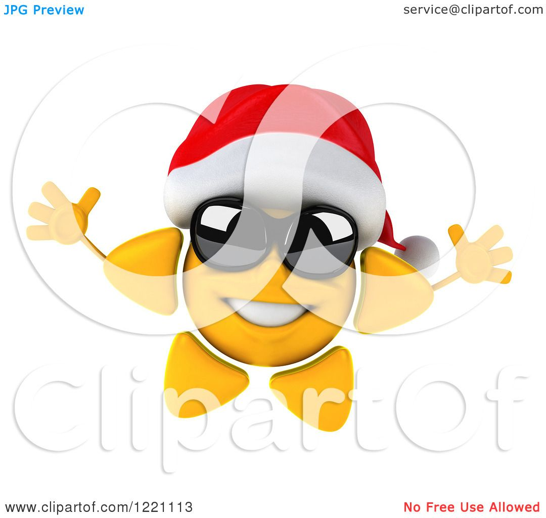 Clipart of a 3d Jumping Christmas Sun Mascot Wearing ...