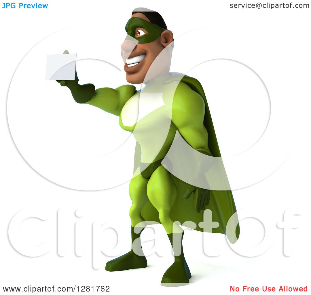 Clipart of a 3d Male Black Super Hero in Green, Facing Left and ...
