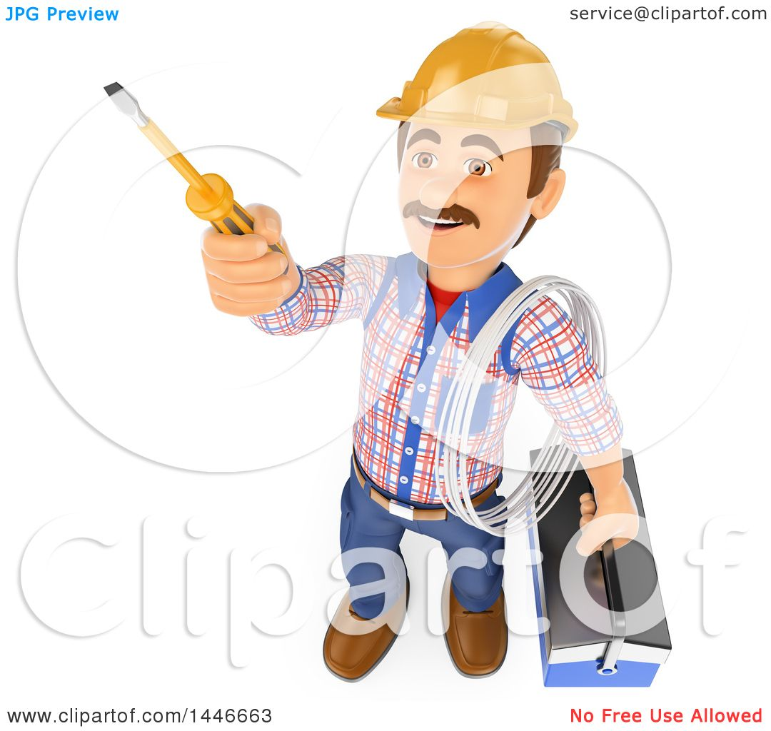 Clipart of a 3d Male Electrician Worker Holding Wire, a Tool Box and ...