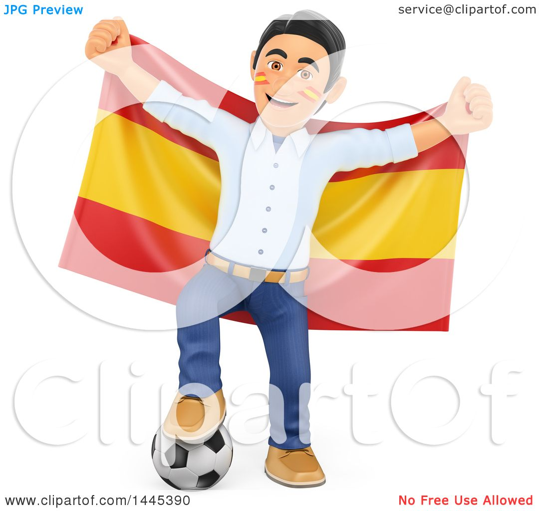 football fan clipart. clipart of a 3d male football sports fan resting foot on soccer ball and holding up spanish flag, white background - royalty free illustration by