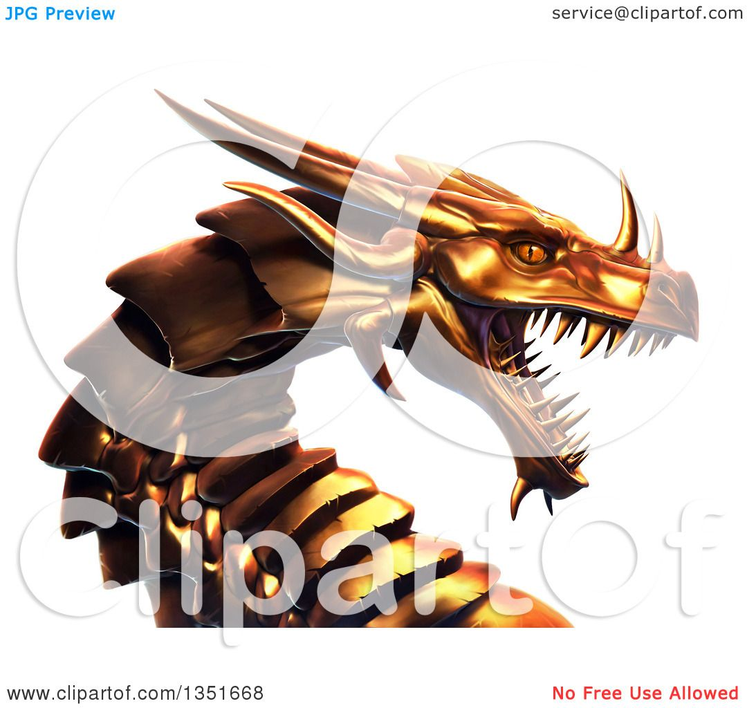 Clipart Of A 3d Metal Golden Dragon Head Royalty Free