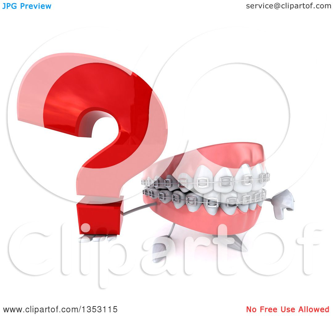 Clipart of a 3d Metal Mouth Teeth Mascot with Braces Holding up a Thumb down  and