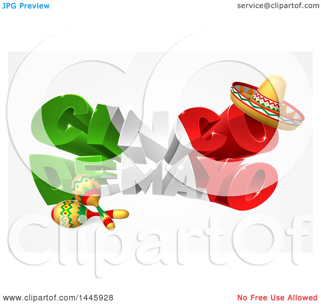 Cinco de mayo mexican flag coloring page - Clipart Of A 3d Mexican Flag Colored Happy Cinco De Mayo Design With A Sombrero Hat And Maracas Royalty Free Vector Illustration By Atstockillustration
