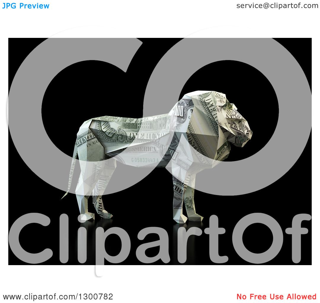 Clipart of a 3d Money One Hundred Dollar Bill Origami Lion ... - photo#49