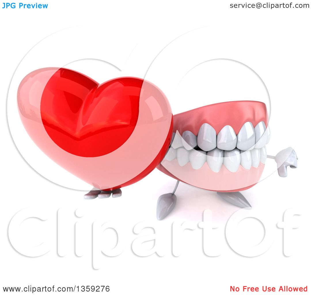 Clipart of a 3d Mouth Teeth Character Holding up a Love Heart and a Thumb  Down
