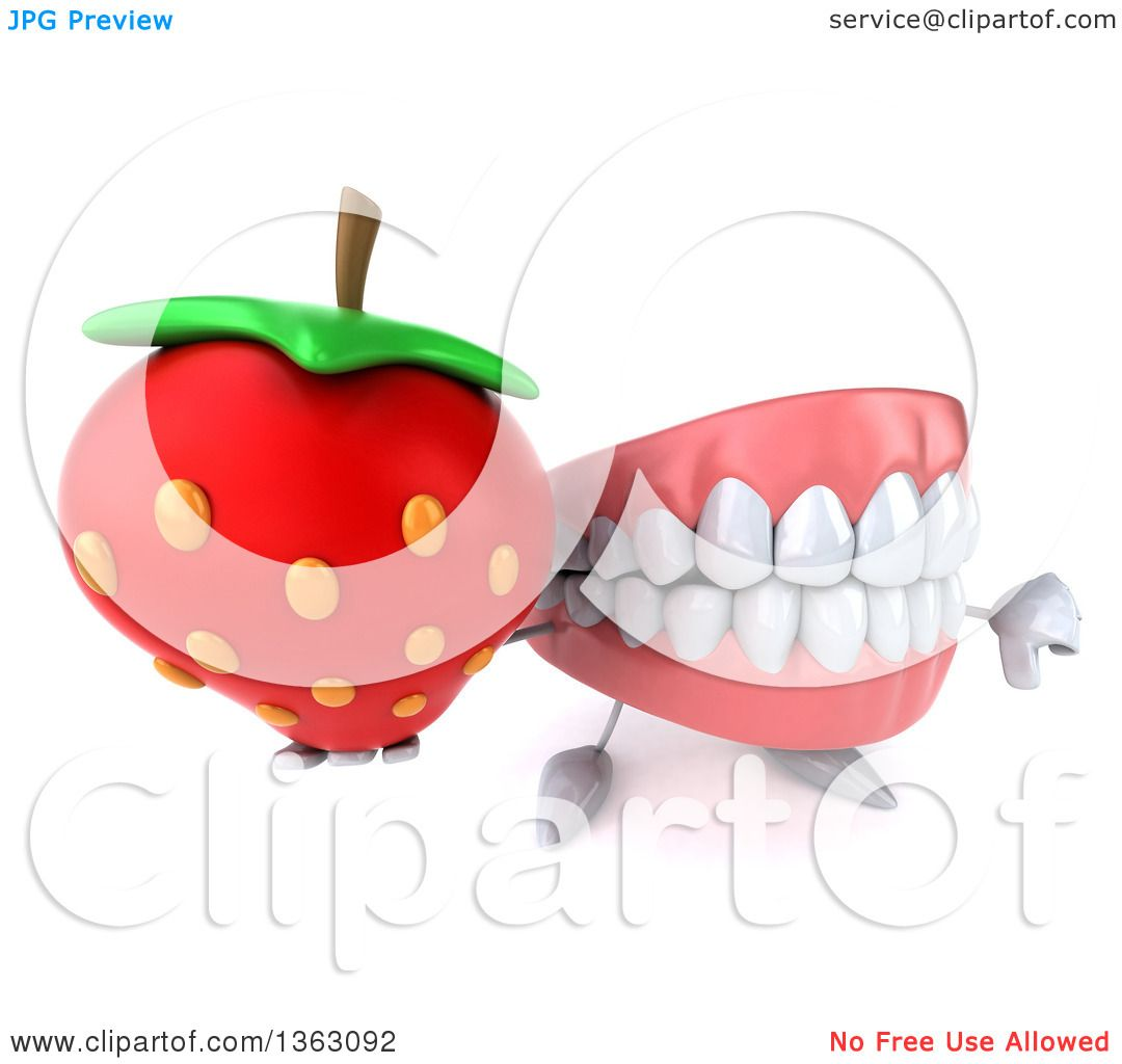 Clipart of a 3d Mouth Teeth Character Holding up a Thumb down and a  Strawberry,