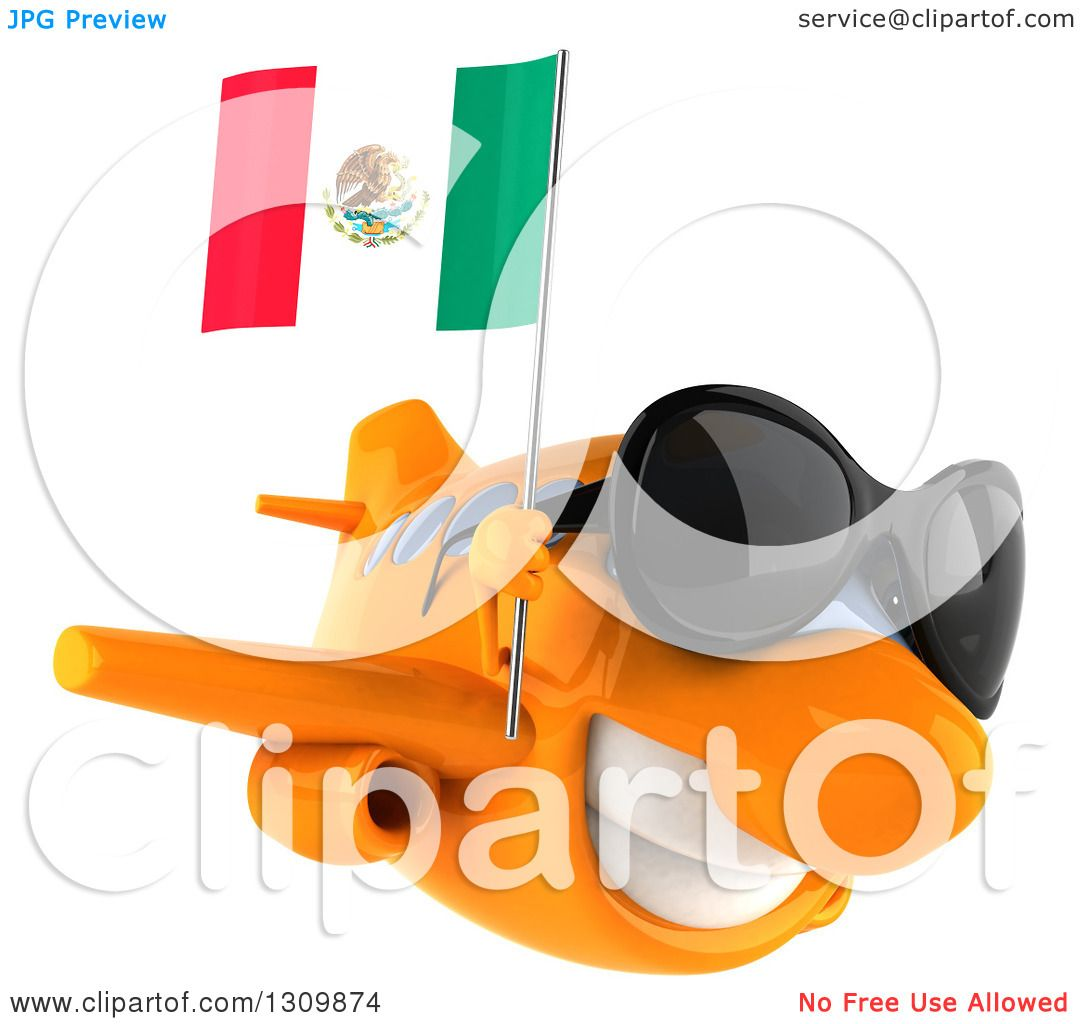 clipart of a 3d orange airplane wearing sunglasses and flying to
