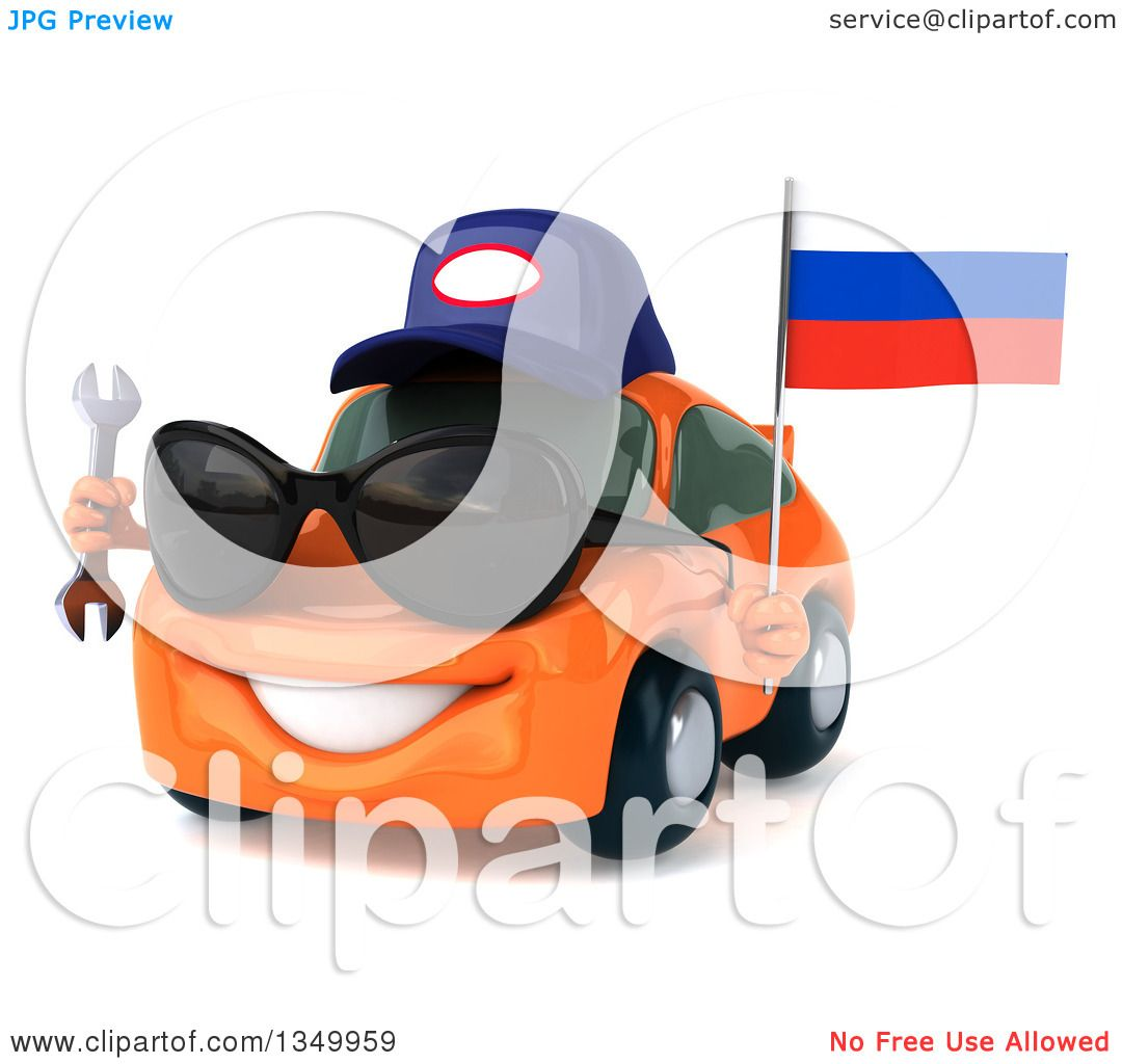 Clipart Of A 3d Orange Mechanic Porsche Car Wearing Sunglasses Facing Slightly Left Holding A