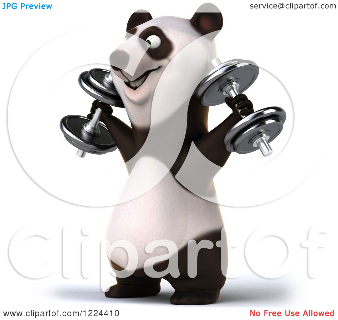 Clipart Of A 3d Panda Working Out With Dumbbells 4 Royalty Free