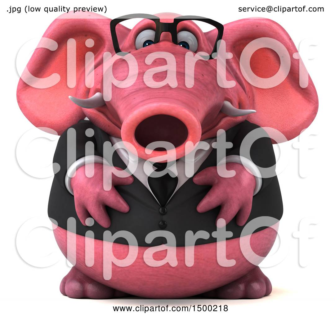 Clipart of a 3d Pink Business Elephant, on a White ...