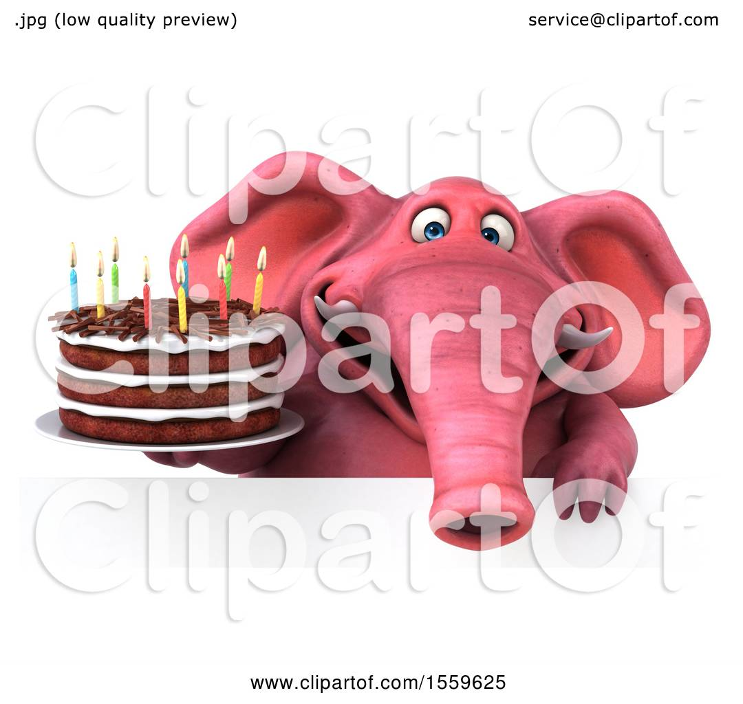 Clipart Of A 3d Pink Elephant Holding Birthday Cake On White Background