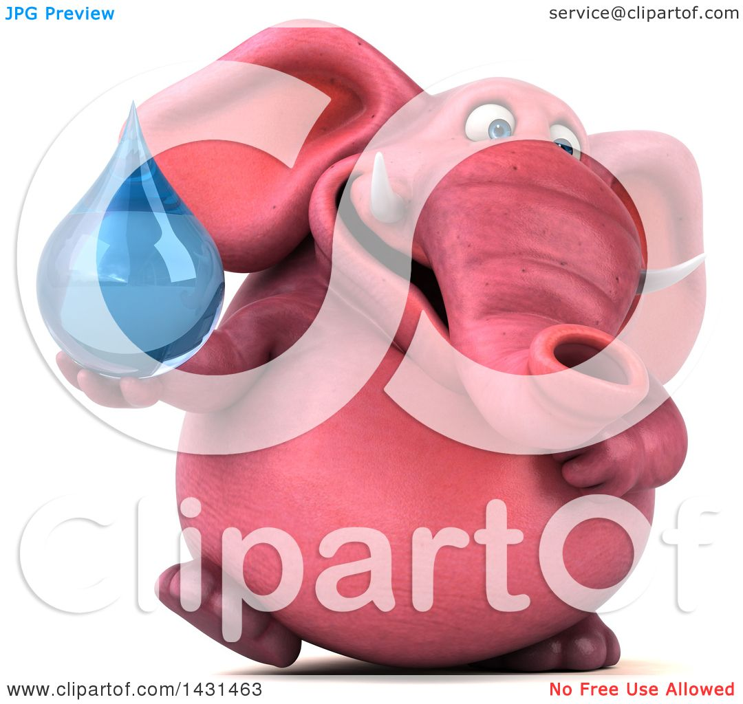 Clipart Of A 3d Pink Elephant Holding A Water Drop On A