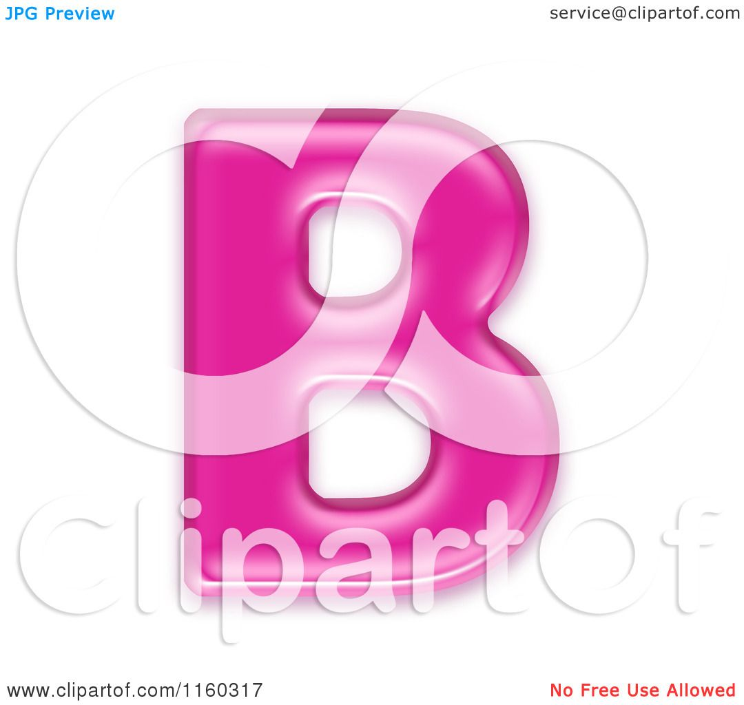 clipart of a 3d pink jelly capital alphabet letter b royalty