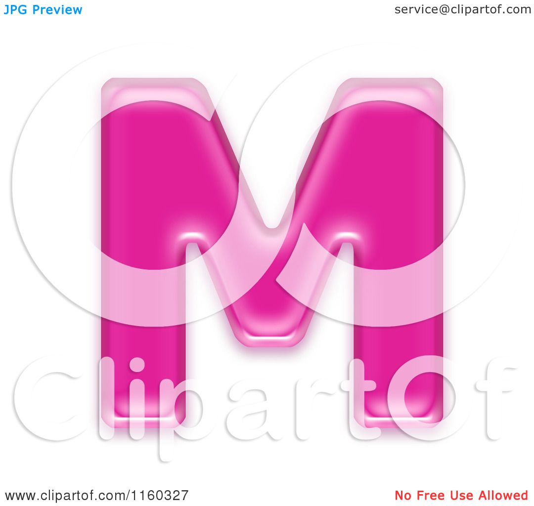 M Alphabet In 3d Clipart of a 3d Pink Jelly