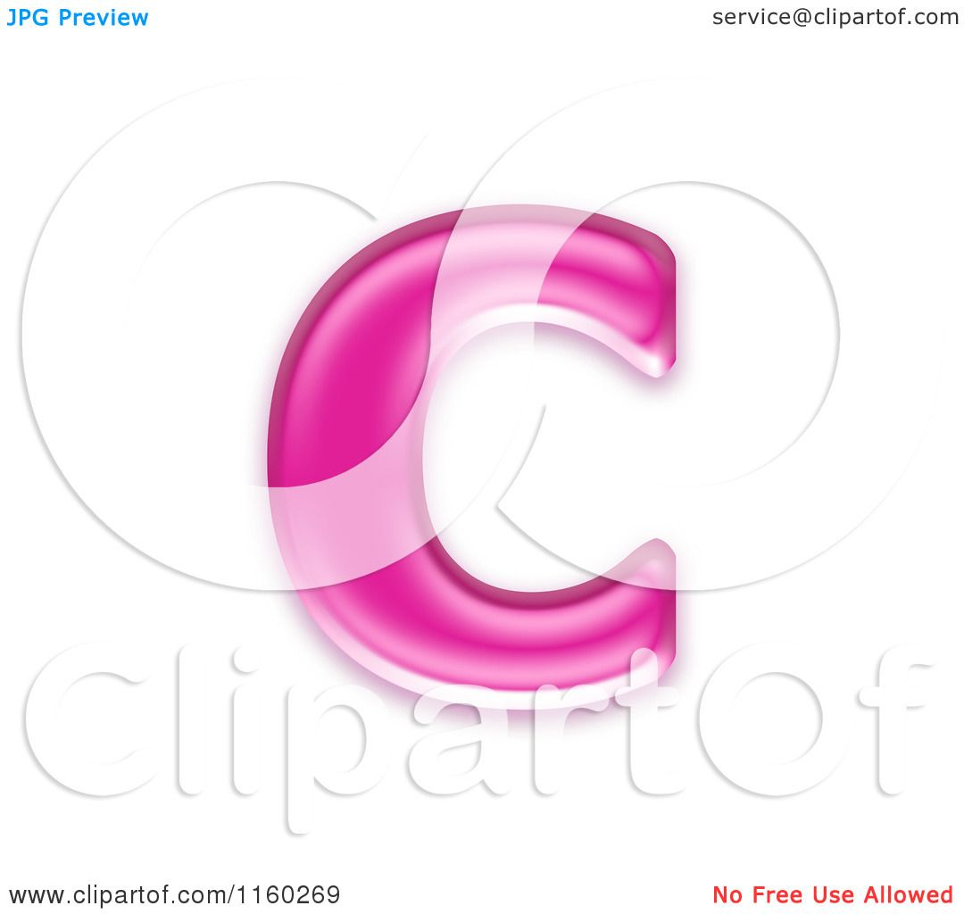 Clipart Of A 3d Pink Jelly Lowercase Alphabet Letter C