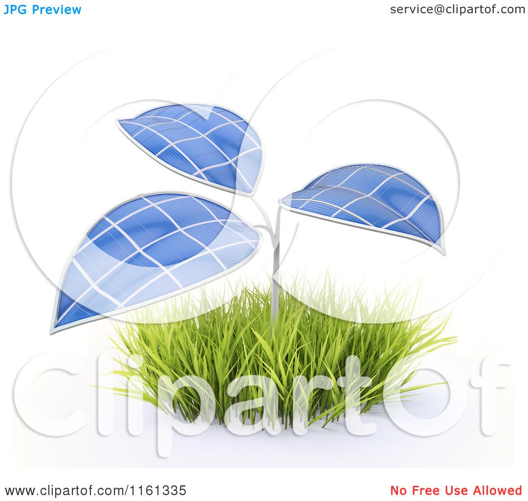 Clipart of a 3d Plant with Photovoltaic Solar Panel Leaves ...