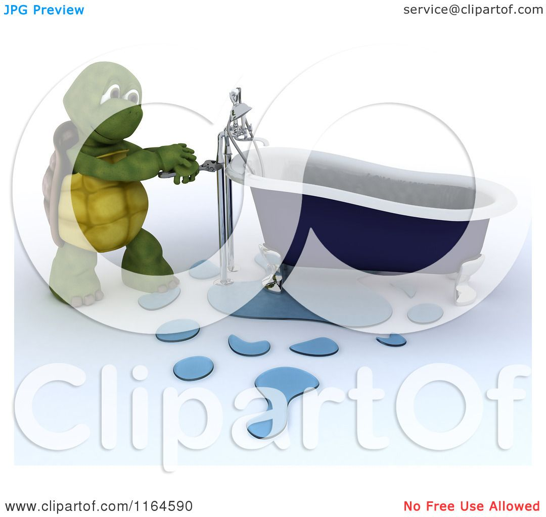 Clipart of a 3d Plumber Tortoise Fixing a Leaky Bath Tub Pipe ...