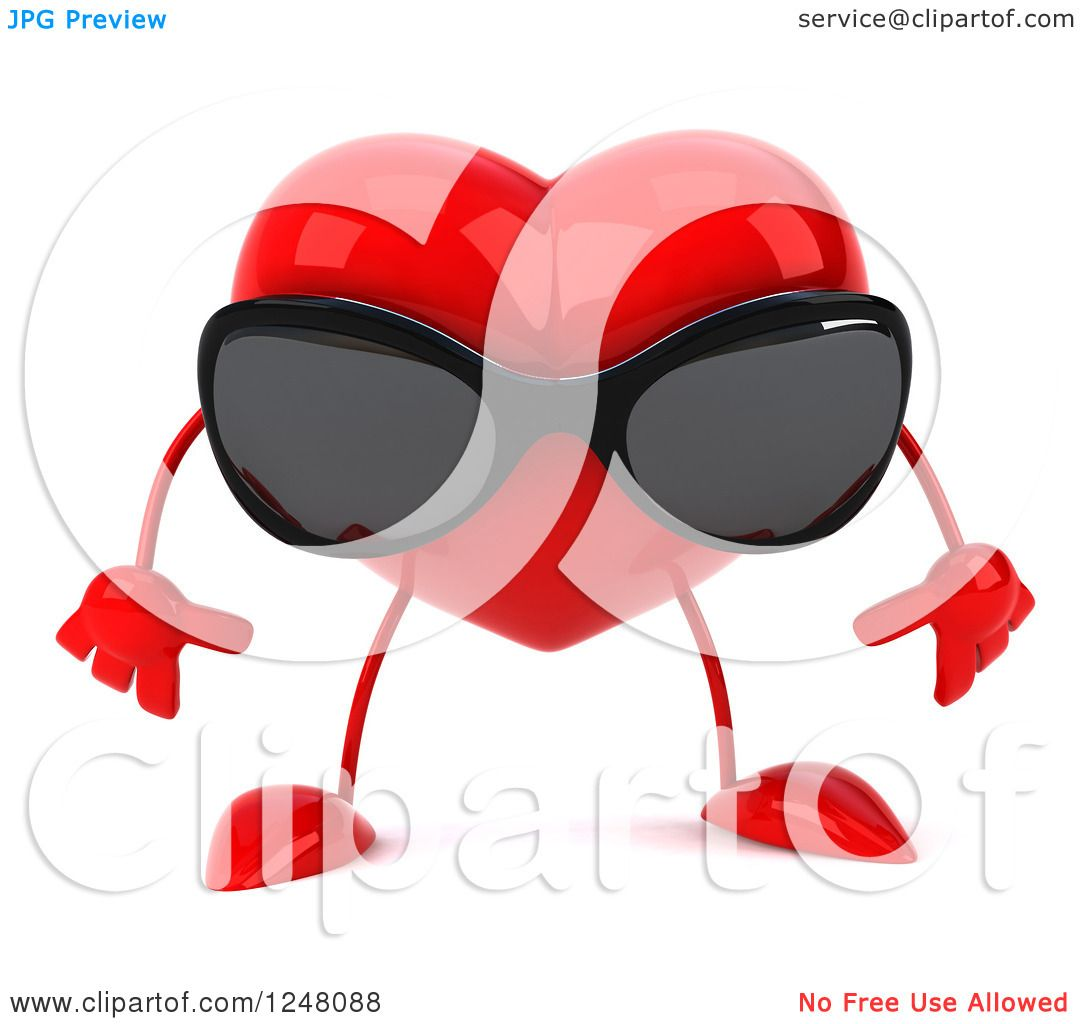 Clipart of a 3d Pouting Red Heart Character Wearing ...