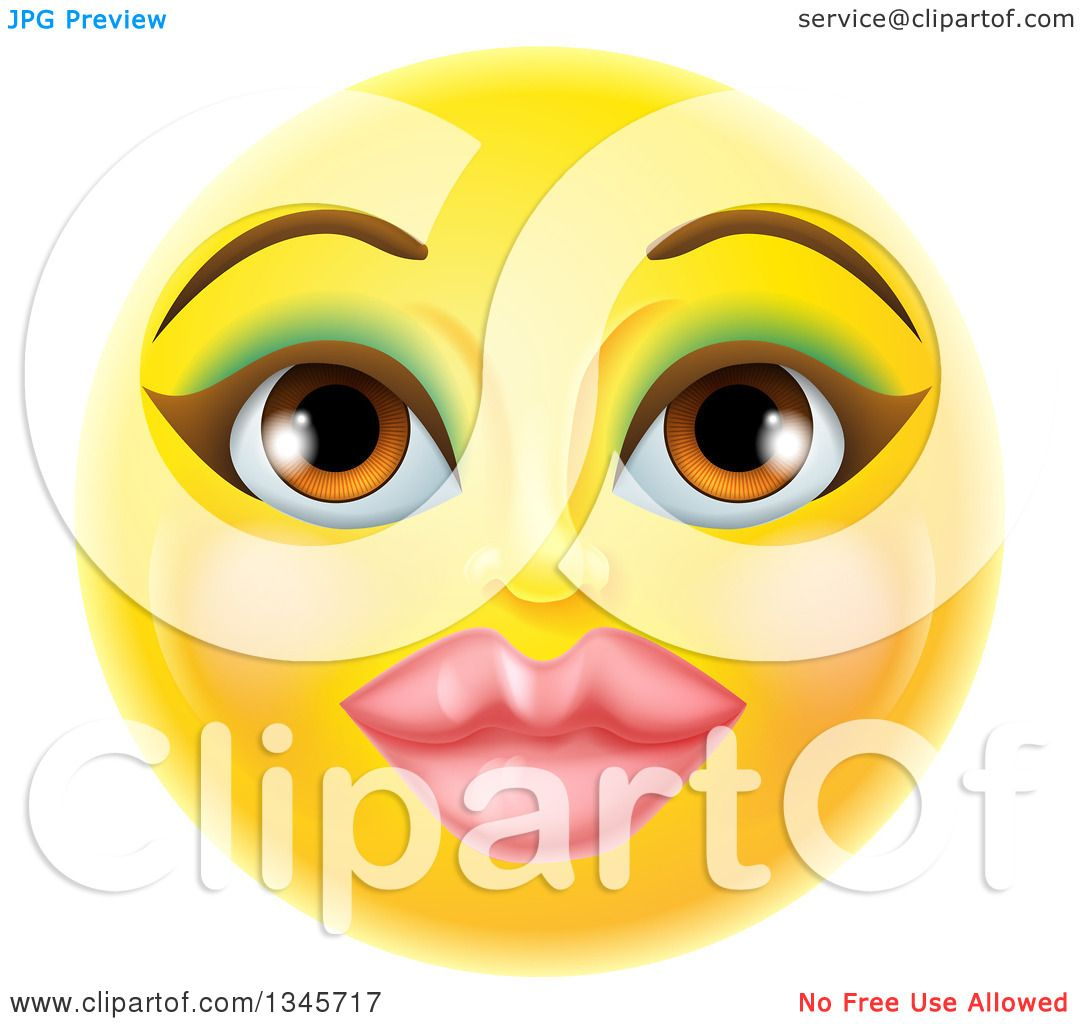 Clipart of a 3d Pretty Female Yellow Smiley Emoji Emoticon