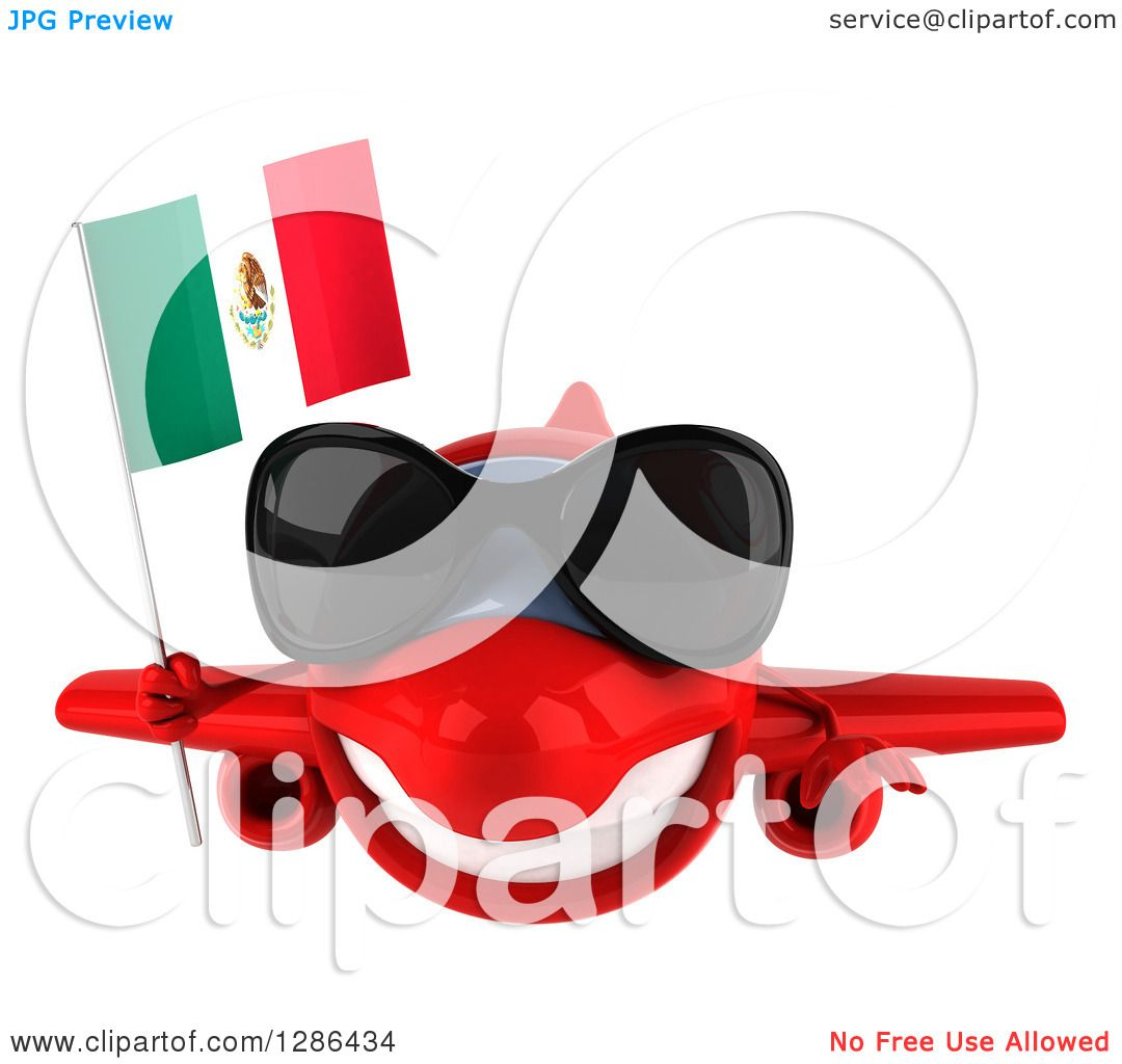 Clipart Of A 3d Red Airplane Wearing Sunglasses And