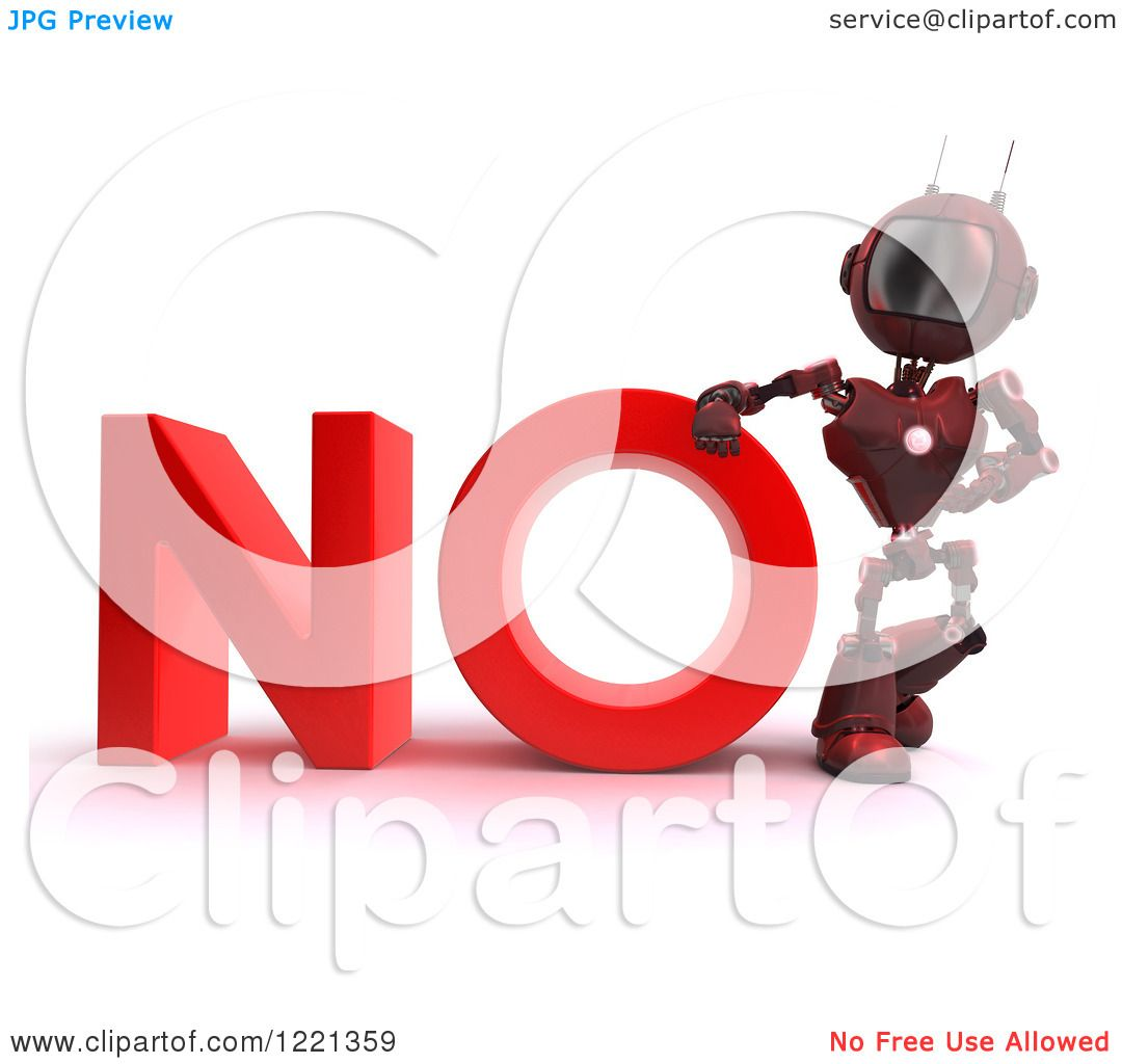 Clipart of a 3d red android robot with the word no for Free clipart no copyright