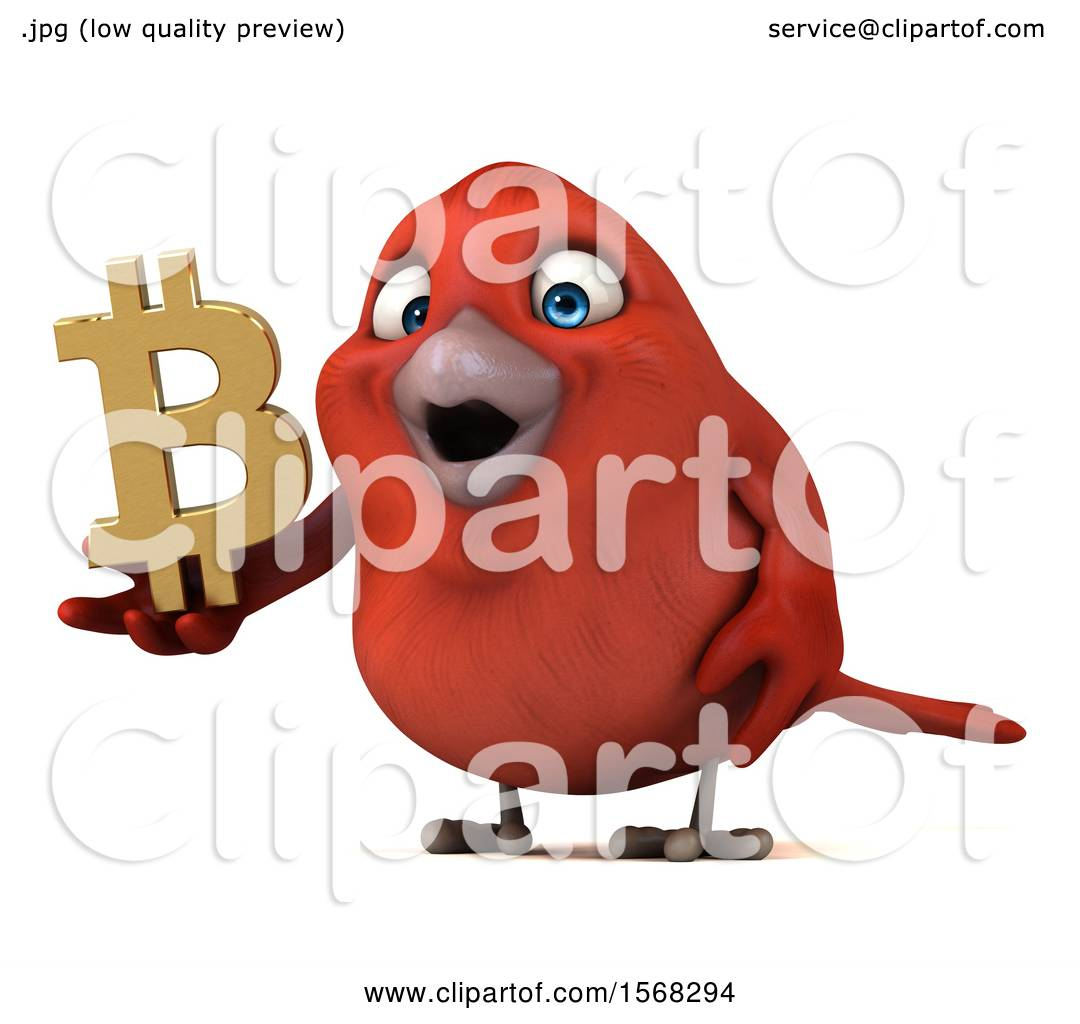 Clipart Of A 3d Red Bird Holding A Bitcoin Symbol On A White