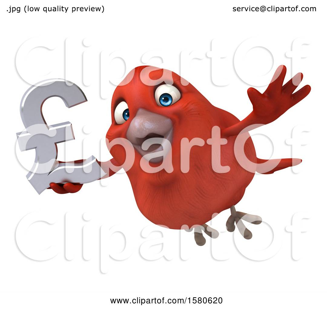 Clipart Of A 3d Red Bird Holding A Pound Currency Symbol On A White