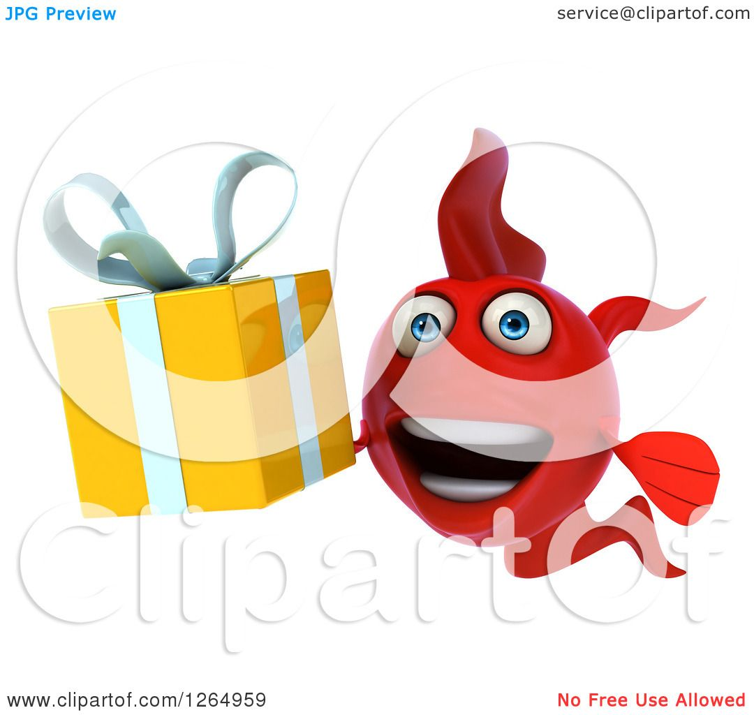 Clipart of a 3d Red Fish Holding a Gift - Royalty Free Illustration ...