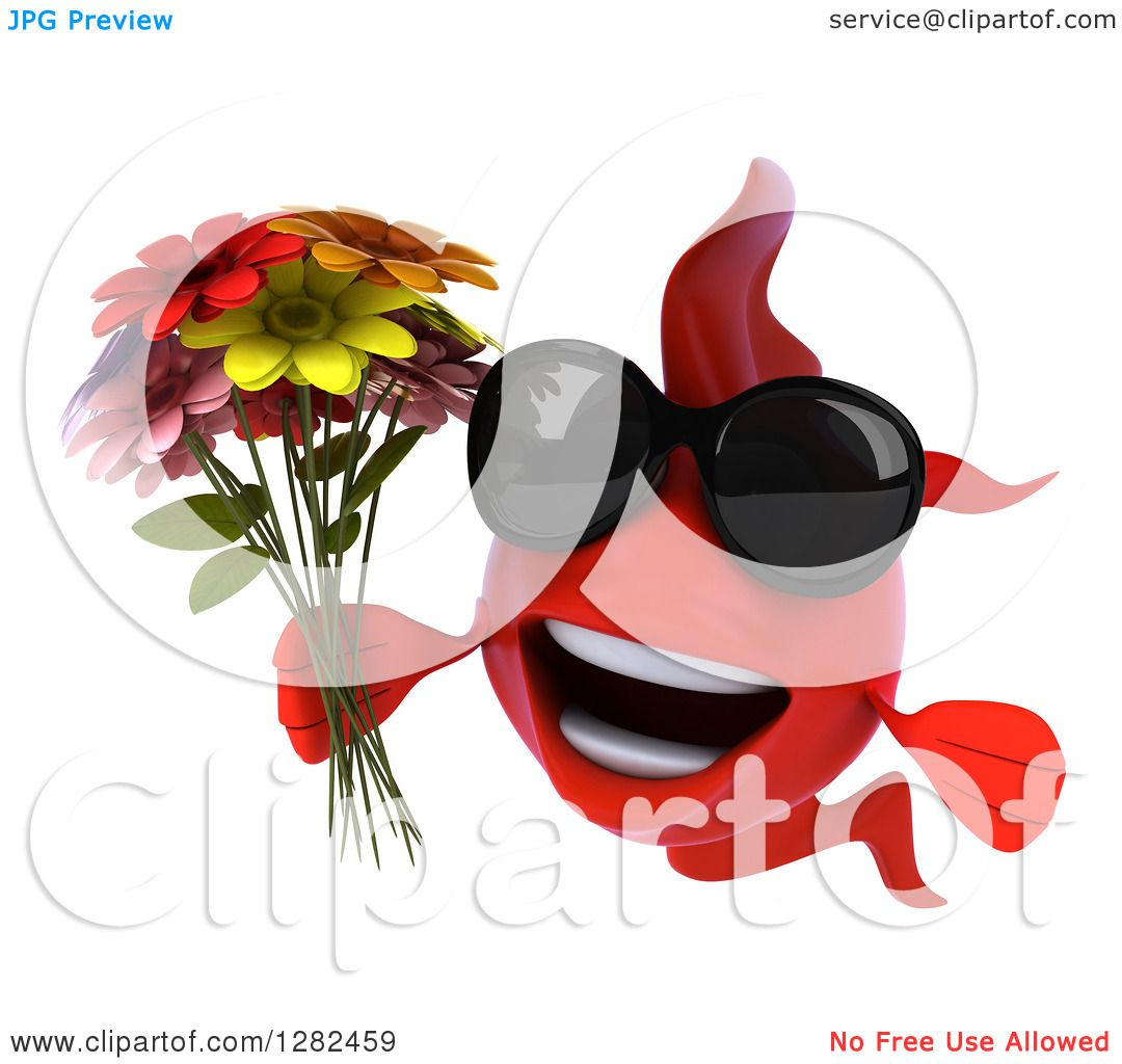 Clipart of a 3d Red Fish Wearing Sunglasses and Holding a Bouquet of ...