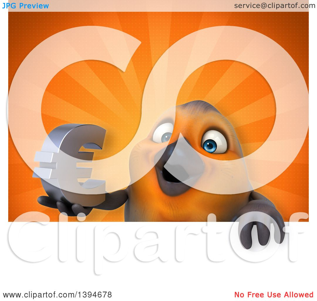Clipart of a 3d red robin bird holding a euro currency symbol on an clipart of a 3d red robin bird holding a euro currency symbol on an orange background royalty free illustration by julos buycottarizona Gallery