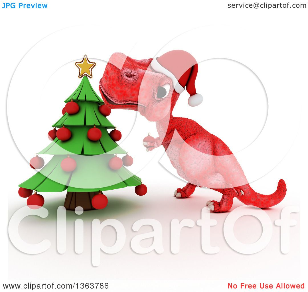 Clipart of a 3d Red Tyrannosaurus Rex Dinosaur Trimming a ...