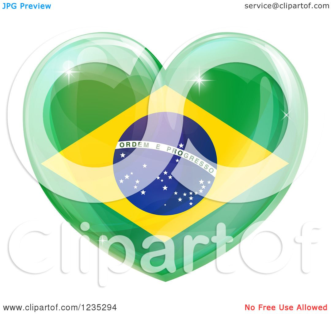 clipart of a 3d reflective brazilian flag heart royalty free