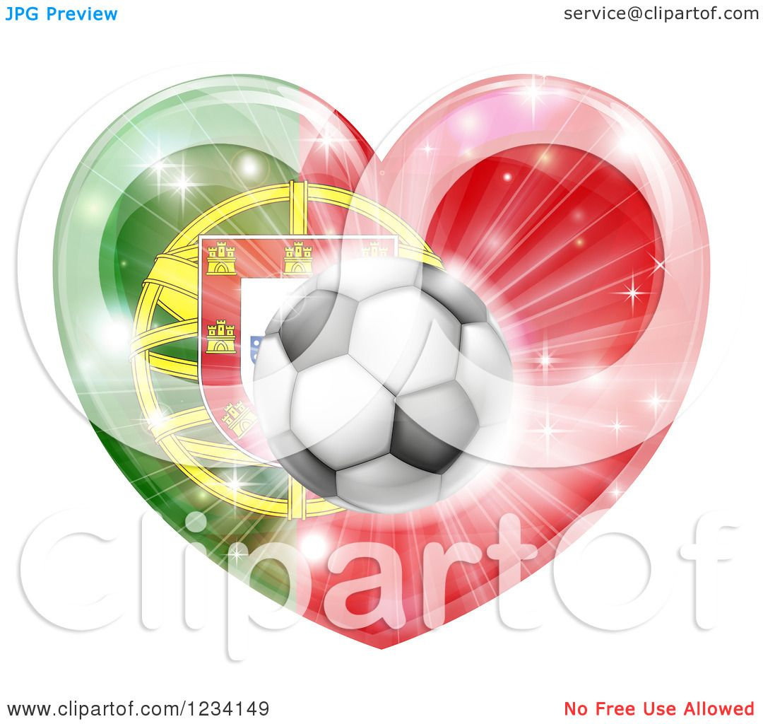 clipart of a 3d reflective portugal flag heart and soccer ball royalty free vector. Black Bedroom Furniture Sets. Home Design Ideas