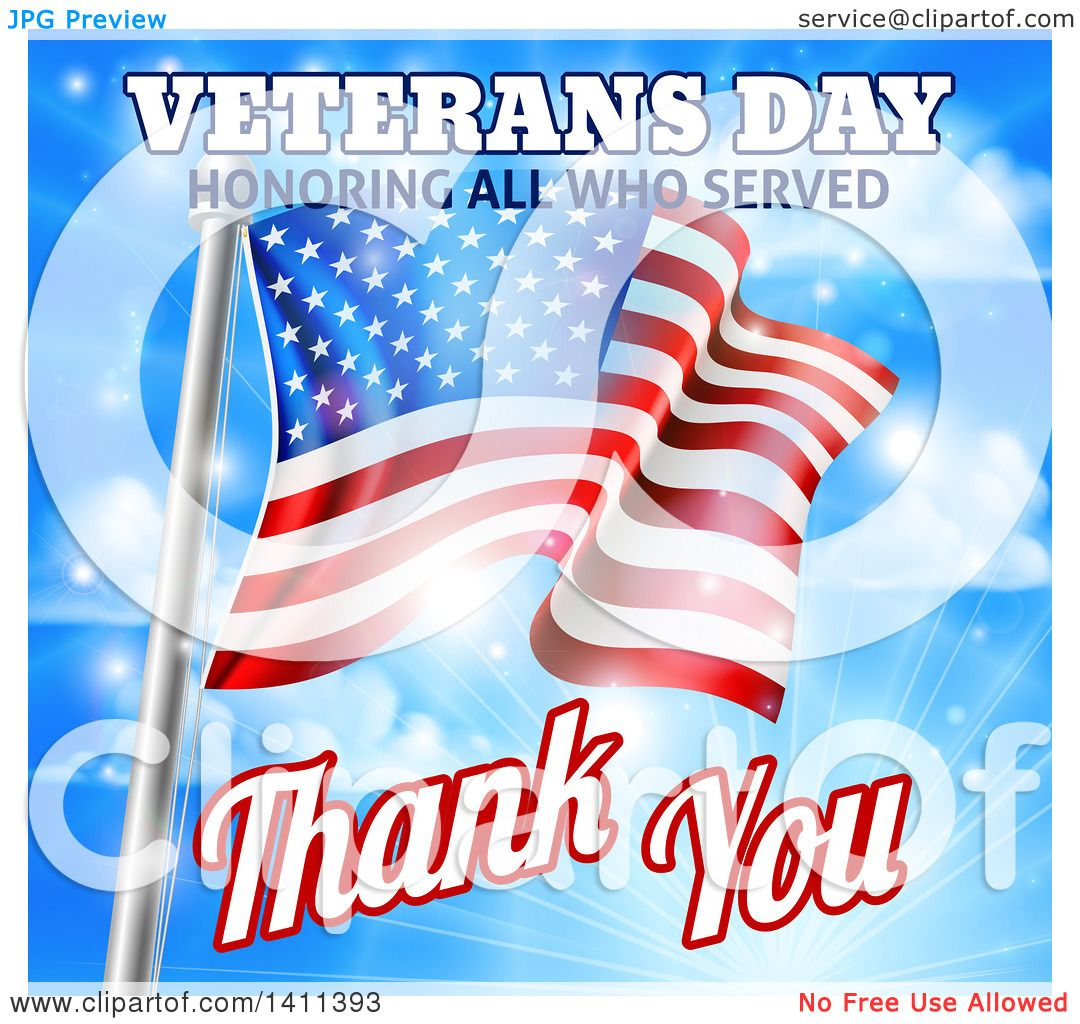 Clipart of a 3d Rippling American Flag with Veterans Day ...