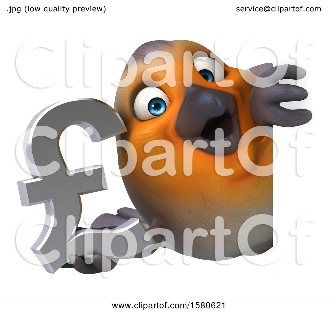 Clipart Of A 3d Robin Bird Holding A Pound Currency Symbol On A