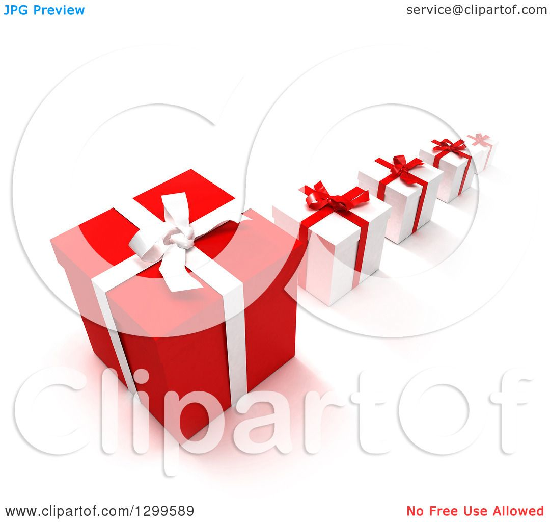 Clipart Of A 3d Row Large To Small Red Christmas Or Birthday Gifts On White