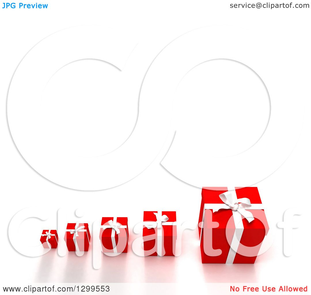 Clipart Of A 3d Row Small To Large Red Christmas Or Birthday Gifts On White