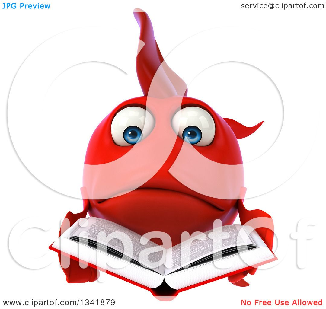 Clipart of a 3d Sad Red Fish Reading a Book - Royalty Free ...