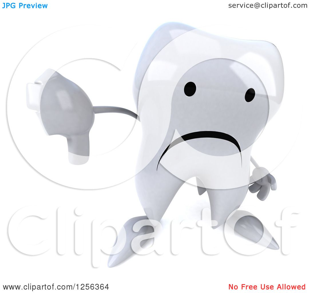 Clipart Of A 3d Sad Tooth Character Holding A Thumb Down Royalty