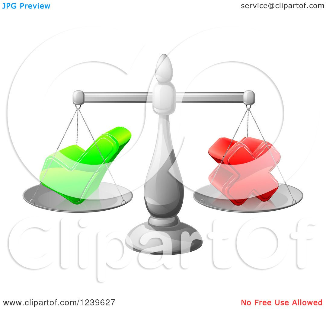 Deciding stock illustrations royalty free gograph - Clipart Of A 3d Scales Weighing A Decision Check Mark And X Cross Royalty Free Vector Illustration By Atstockillustration