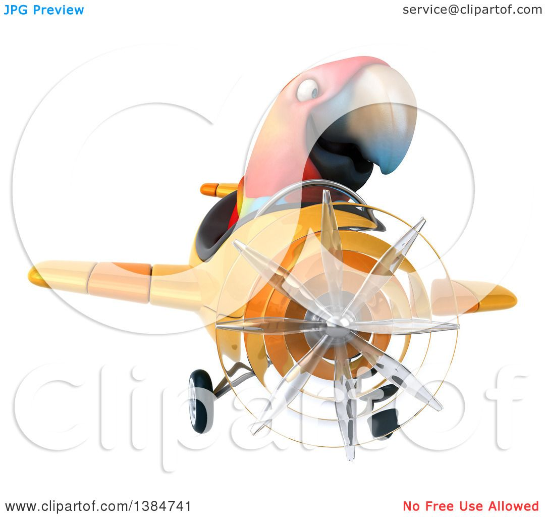 Clipart of a 3d Scarlet Macaw Parrot Flying a Plane, on a White ...