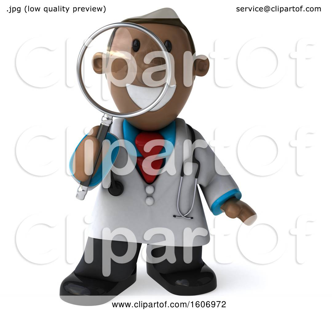 Clipart of a 3d Short Black Male Doctor Holding a Magnifying