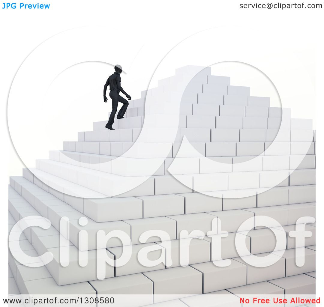 Clipart Of A 3d Silhouetted Business Man Climbing Up