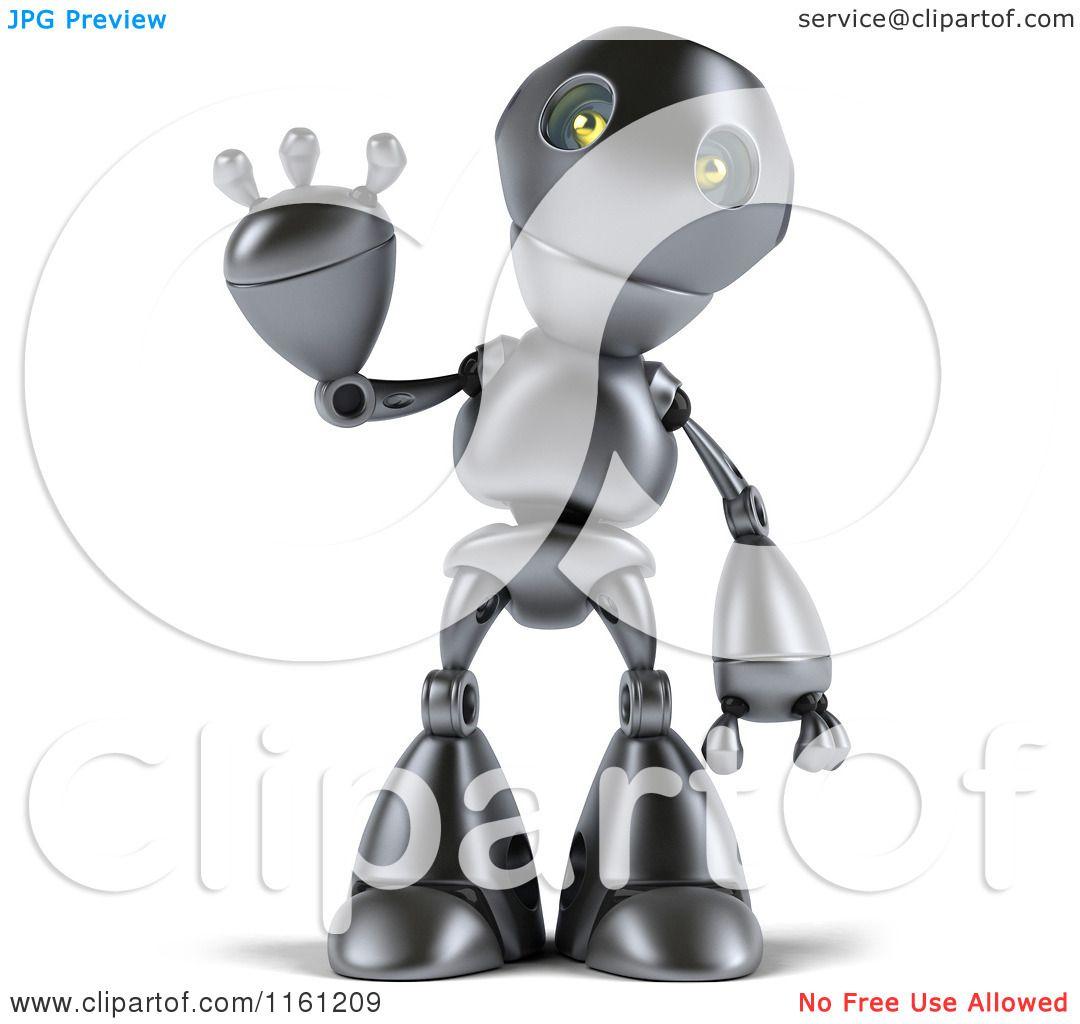 Clipart of a 3d Silver Robot Mascot