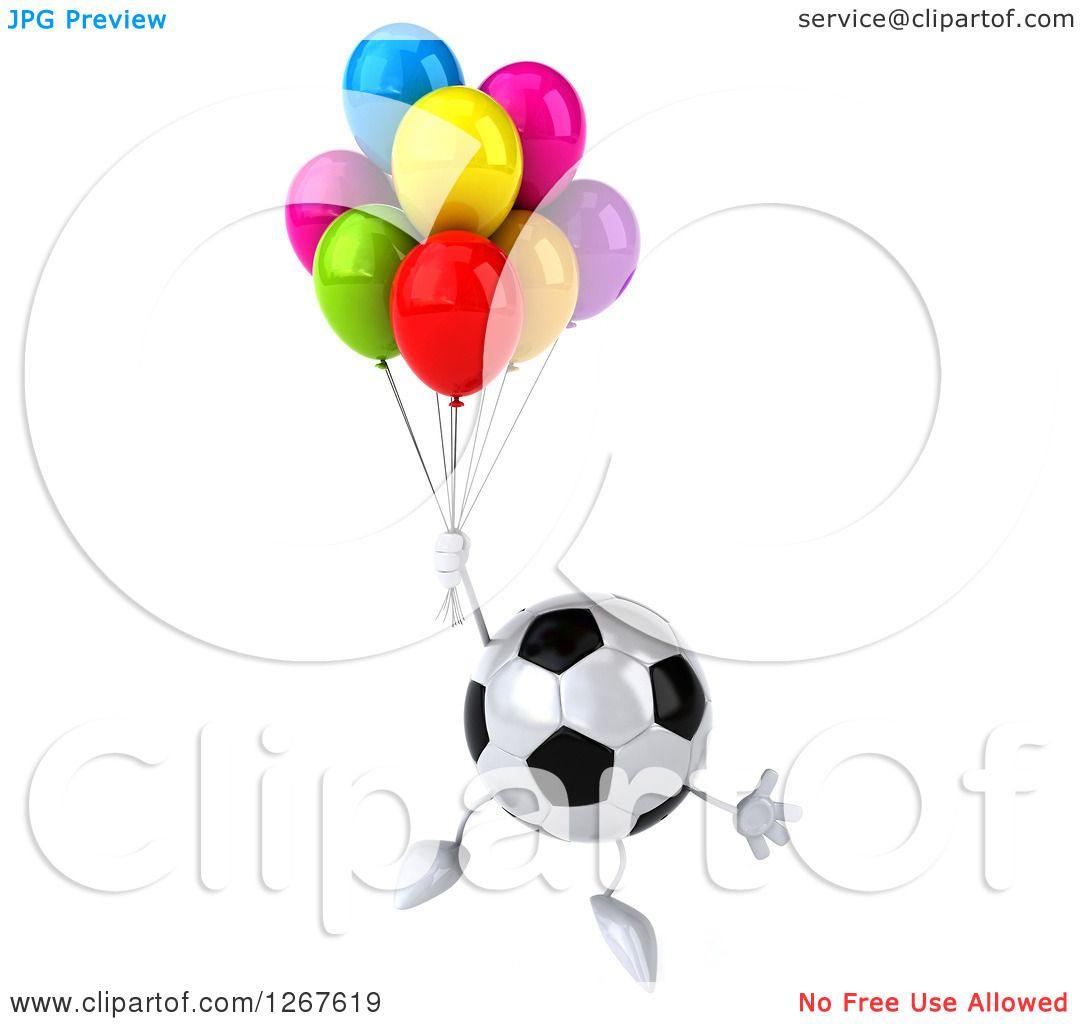 Clipart of a 3d Soccer Ball Character