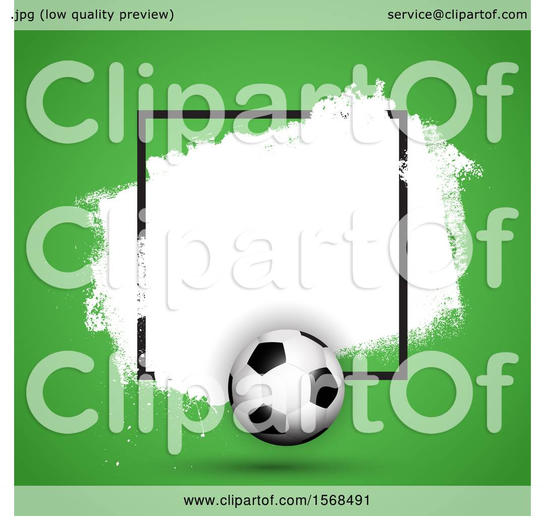 Clipart of a 3d Soccer Ball Frame with White Grunge on Green ...