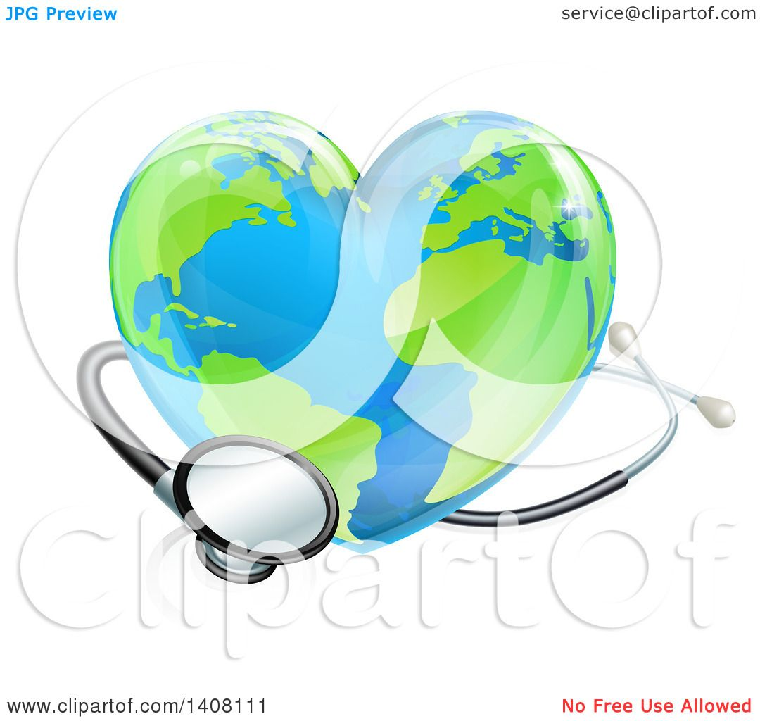 Clipart of a 3d Stethoscope Around a Heart Earth Globe ...