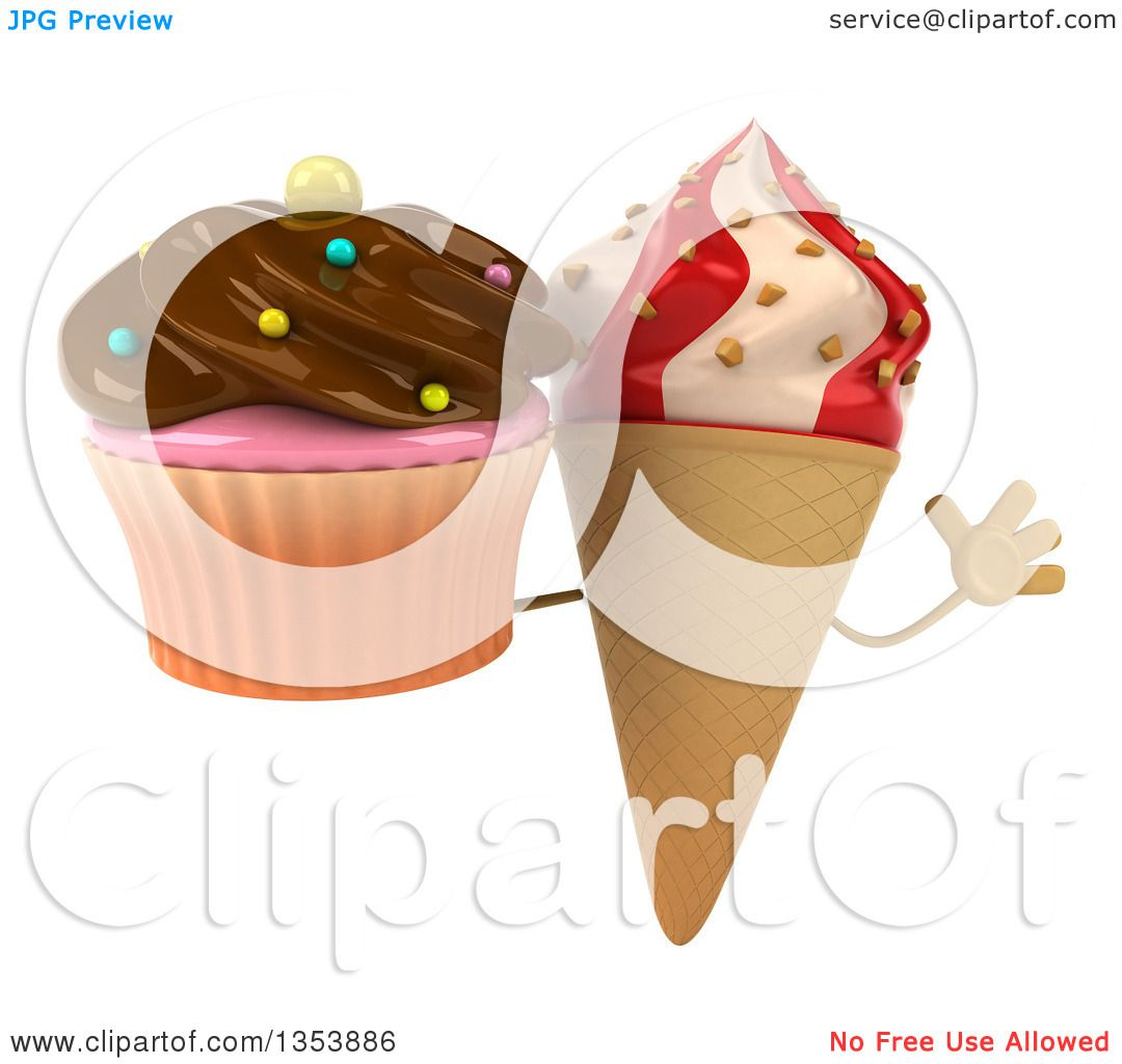 Icecream Cone Cupcake Wallpapers Mobile Pics: Clipart Of A 3d Strawberry And Vanilla Swirl Waffle Ice